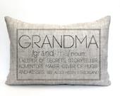 "mother's day gift, grandma pillow, gift for her, grandparent gift, new parents pillow, christmas gift - ""The Grandma"""