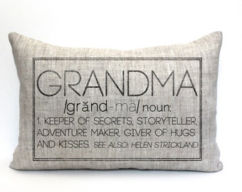 "grandma gift, grandma pillow, gift for her, grandparent gift, new parents pillow, christmas gift - ""The Grandma"""