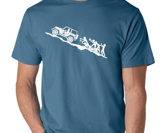 Jeep on Hill Escaping Zombies t-shirt