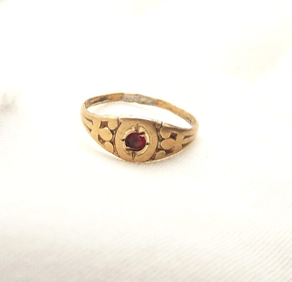 Vintage Gold Garnet Art Deco Baby Ring By Cjvintagetreasures