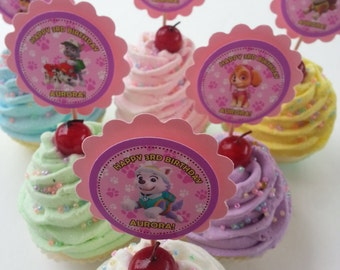 Personalized Paw Patrol Cupcake Toppers Pink and Purple