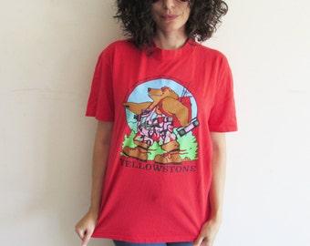 Vintage 80s Red Yellowstone Park Cartoon Bear Tee