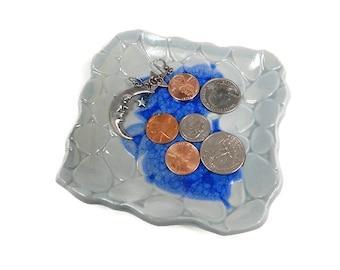 Light Blue Dish, Aquamarine Home Decor, Blue Pottery Dish, Beach Stones Plate, Trinket Dish, Beach Decor, Jewelry Tray, Powder Room Decor