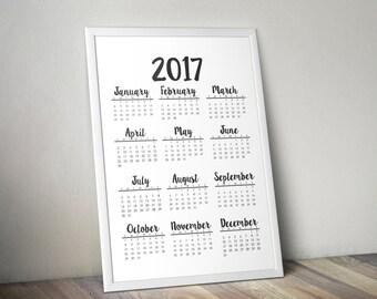 2017 Calendar, Simple Calendar, Calendar, Black and White Calendar, Printable Calendar, Printable, 2017 Printable, New Year Calendar, Simple