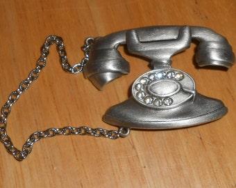 "Vintage 1980s JJ JONETTE Pewter Clear Rhinestone Figural ""Dial Telephone"" Brooch"