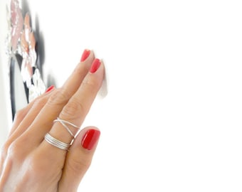 Sterling Silver Stacking Ring Set Criss Cross Ring Thin Hammered Rings Index Finger Mid Finger Handmade Jewelry For Women