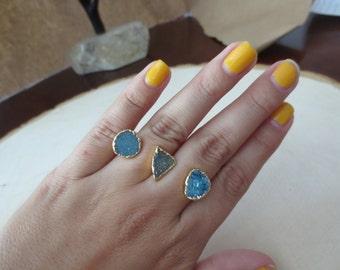 Druzy ring, blue druzy ring, triple druzy ring, gold druzy ring, druzy double ring