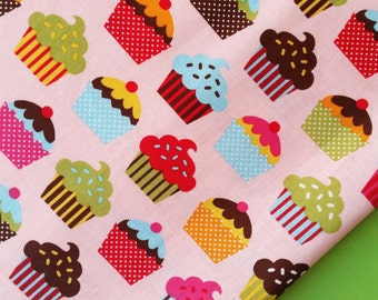 Cupcake Confection on Pink Cotton Fabric - Robert Kaufman by Caleb Grey