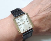 Lucien Piccard Solid 14k Gold Watch, Unisex, Leather Lizzard Band, Art Deco Numerals, Vintage Wristwatch