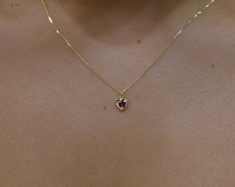 Ruby Necklace/ 14k Gold Heart Necklace/ Mini Heart Necklace/ Dainty Heart Necklace/ Gemstone Necklace/ July Birthstone/ Birthday Gift