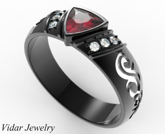 Black Gold Trillion Ruby Wedding Ring For A MenUnique