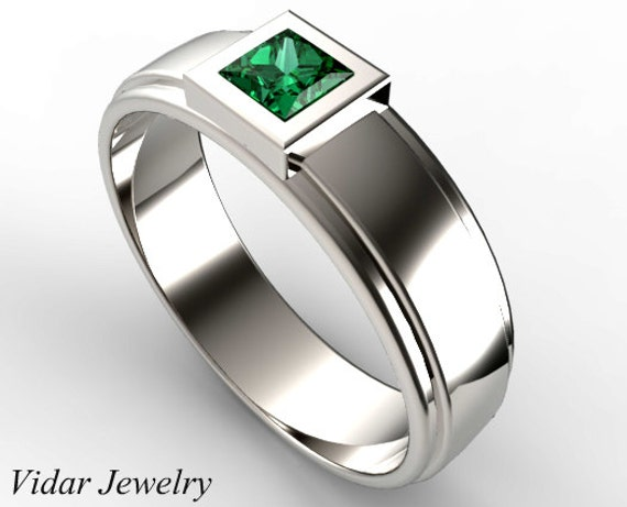 White Gold Princess Cut Green Emerald Wedding RingUnique