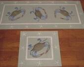 Custom  3 X 5 Blue Crab Floorcloth for Mary