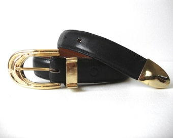 Pat Areias Gilt Sterling Silver Buckle On Black Leather Belt Size 30