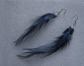 Original Unique Long Blue Feather Earrings Trendy Boho Look
