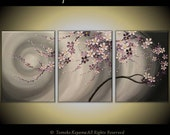 "CUSTOM ORDER Original Modern Painting on Gallery wrapped Canvas 54"" x24"" Home Decor, Wall Art ---Purple Flowing  Blossoms---- by Tomoko---"