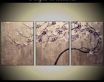Custom Order Original Acrylic Impasto Modern Painting on  Gallery wrapped Canvas 54x 24 Home Decor,--- Purple Blossoms---- by Tomoko Koyama