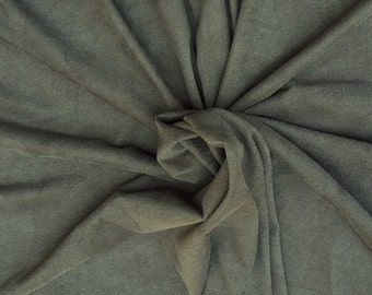 "Olive Microsuede Spandex Fabric Faux Suede by the Yard 56""W 5/16"