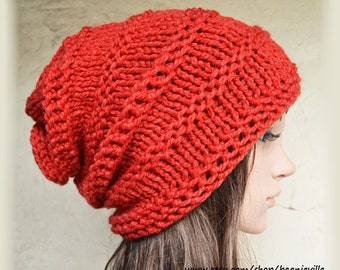 Slouchy beanie - RED (Or Choose Color) - ribbed style - slouch - chunky handmade hat - Unisex men women