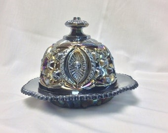 Vintage blue carnival butter dish with dome lid