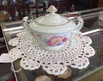 Vintage Sango china hand painted chrysanthemum sugar bow & lid made in Japan
