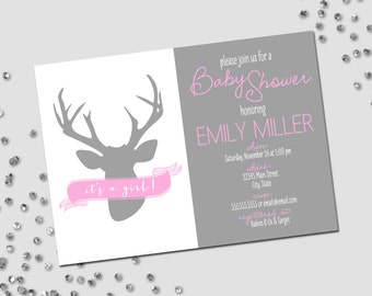 Deer Baby Shower Invitation - Pink White and Grey - Printable