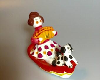 Russian doll Folk art Handmade Painted Clay Figurine