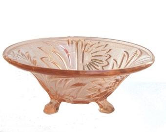 pink pressed glass fruit bowl
