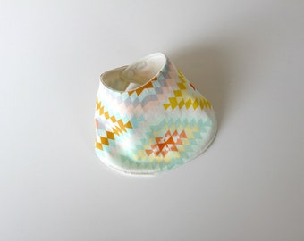 Baby Drool Bib, Mint Kilim Cotton with Organic Bamboo Terry