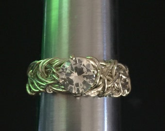 Unique Engagement Ring, White Topaz Enggement Ring, Silver Engagement Ring, Filigree Engagement Ring, Purity Ring