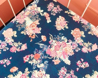 Crib Sheet OR Changing Pad Cover - Navy and Coral Floral Doily