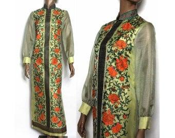 Vintage 1960s Gown Dress Alfred Shaheen Designer Gown Floral Maxi Dress Man Men Femme-Fatale Rockabilly Garden Party Gown Floral