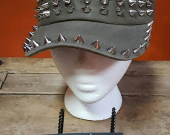Military style  CADET Caps, Embellished  with sewn on Chrome looking STUDS, adjustable