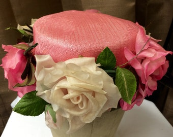 Beautiful Vintage Pink Flowered Church Hat