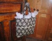 Tote Bag Purse Weekender Black and Cream Brocade