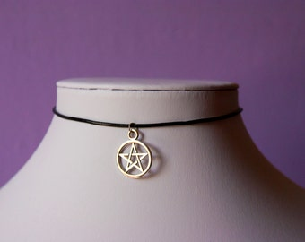 Star Pentagram Silver Charm Black Choker Necklace Leather / Satin Silk Cord Retro 90s / For Her