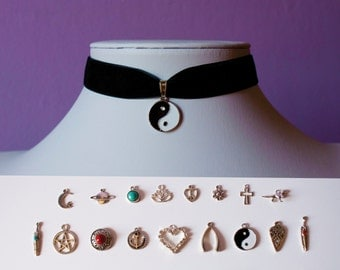 Velvet Choker Necklace and Charm / Retro 90s / For Her / Choose Your Own