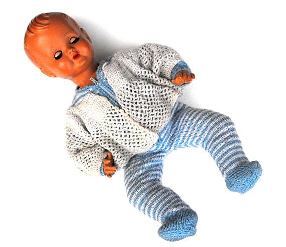 1960s Cry Baby Doll Mid Century Nostalgic Kitsch Sleepy Blue