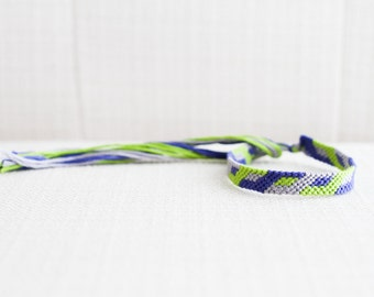 Friendship Bracelet Geometric Modern Bracelet Blue Green and Grey Woven Bracelet