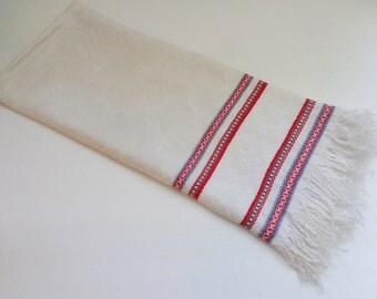 Vintage Damask Runner, Vintage Damask Kitchen Towel with Woven Red & Grey Borders