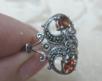 Double Garnet Sterling Silver Ring Size 5 1/2