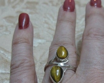 Tiger Eye Sterling Ring Size 8