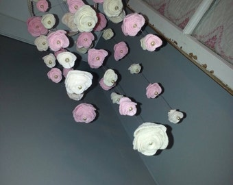 Precious Pink & Cream Felt Rose Mobile for your Baby's Room