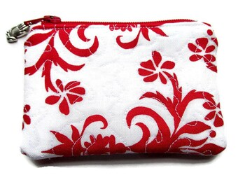 Red and White Rosary Holder, Coin Purse, Ladies, Handmade, Catholic, Christian, Heirloom Holder