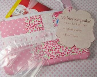Baby Girl's Keepsake Holder, Gift Card Holder, Fabric Gift Card Holder, Pink, Memento Holder, Baby Shower Gift