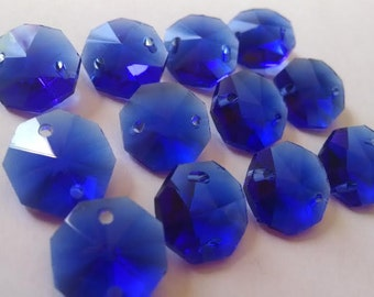 50 Cobalt Blue Chandelier Crystal Beads Octagon Shabby Chic Prisms 14mm