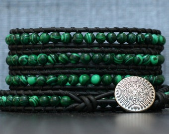 wrap bracelet- malachite and black leather- beaded leather wrap bracelet - boho mens or womens