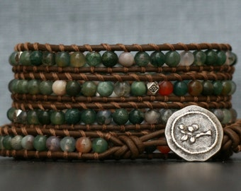 jasper wrap bracelet- fancy jasper and silver on chocolate brown leather