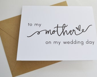 Pack of 4 Wedding Day Cards // To My Groom on My Wedding Day // Card for Mom, Dad, Brother, Sister, Grandma, Grandpa on Your Wedding Day
