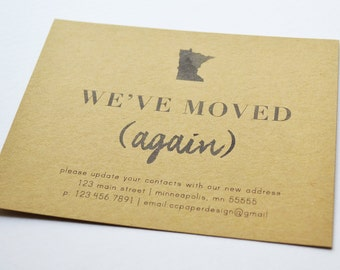 Personalized Moving Announcement, Change of Address Card, Address Change Announcement with Envelope, Personalized State Moving Announcement